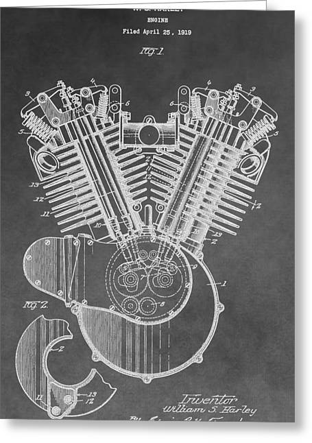 Hard Rock Cafe Greeting Cards - Harley Engine Patent Greeting Card by Dan Sproul