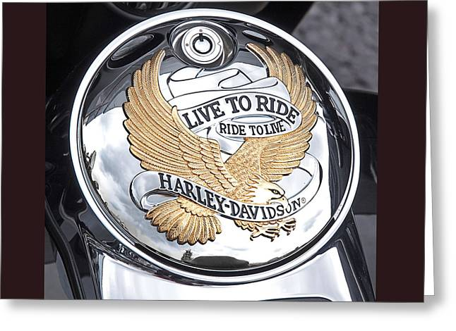 Harley Davidson Greeting Cards - Harley Golden Eagle Emblem Greeting Card by Gill Billington