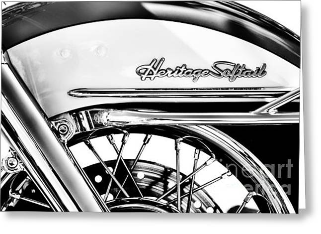 Spokes Greeting Cards - Harley Heritage Softail Monochrome Greeting Card by Tim Gainey