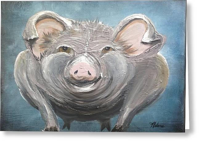 Happy Hog Greeting Cards - Harley Hog aka Pumba Greeting Card by Helene Thomason