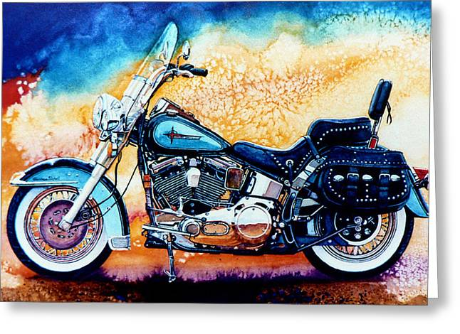 Harley Davidson Greeting Cards - Harley Hog i Greeting Card by Hanne Lore Koehler