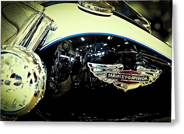 Handle Bar Greeting Cards - Harley Hog II Greeting Card by David Patterson