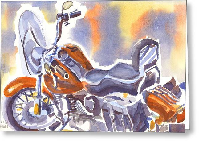 Locations Paintings Greeting Cards - Harley in Watercolor II Greeting Card by Kip DeVore