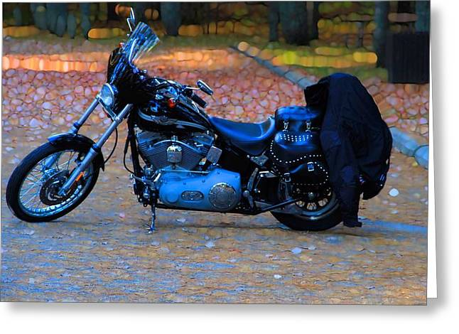 Leather Jackets Greeting Cards - Harley Motorcycle Abstract Autumn Greeting Card by Dan Sproul