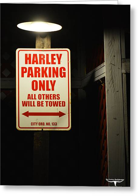 Old Town Temecula Greeting Cards - Harley Parking Only Greeting Card by Tommy Anderson