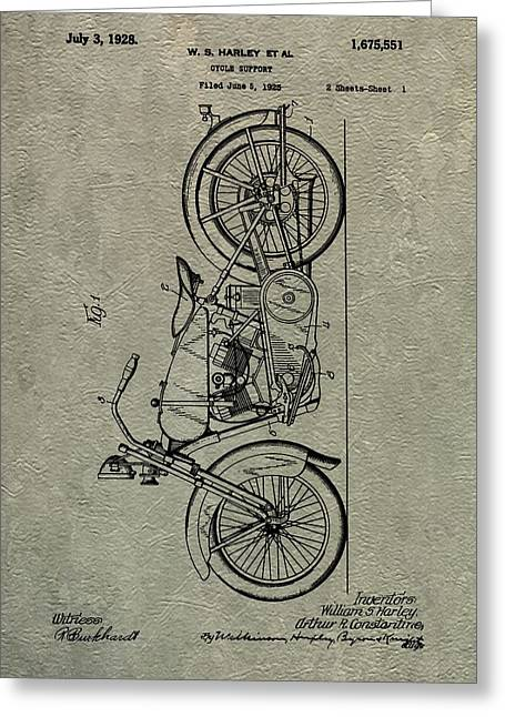 Dealership Greeting Cards - Harley Patent Greeting Card by Dan Sproul