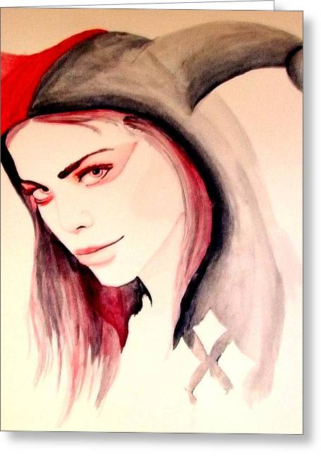 Comic Book Character Paintings Greeting Cards - Harley Quinn Greeting Card by Lauren Anne