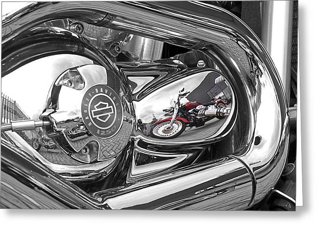 Red Hog Greeting Cards - Harley Reflections Greeting Card by Gill Billington