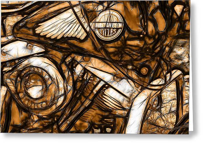 Spano Greeting Cards - Harley Shovelhead Greeting Card by Michael Spano