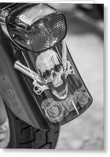 Harley Skull And Taillight  Greeting Card by John McGraw