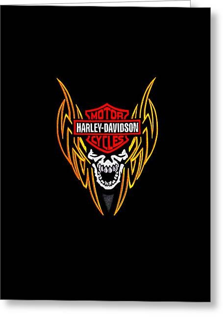 Harley Greeting Cards - Harley Skull Phone Case Greeting Card by Mark Rogan