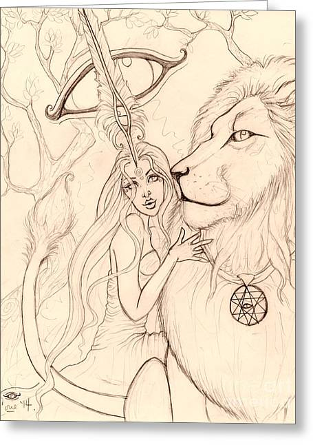 Gaia Drawings Greeting Cards - Harleyman LionSun Greeting Card by Coriander  Shea