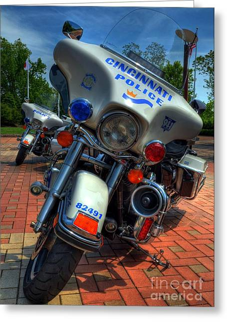 Police Department Greeting Cards - Harleys In Cincinnati 1 Greeting Card by Mel Steinhauer