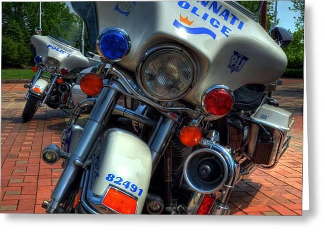 Harleys In Cincinnati 1 Greeting Card by Mel Steinhauer