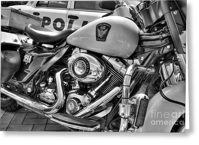 Police Department Greeting Cards - Harleys In Cincinnati 2 bw Greeting Card by Mel Steinhauer
