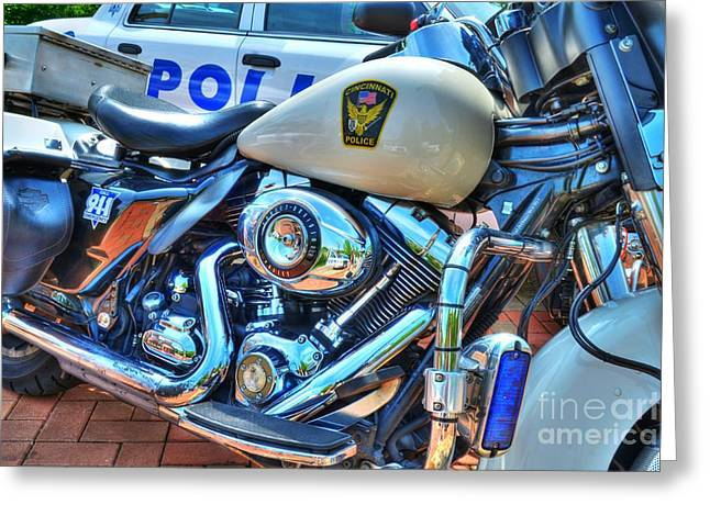 Police Department Greeting Cards - Harleys In Cincinnati 2 Greeting Card by Mel Steinhauer