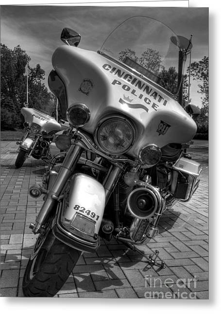 Police Department Greeting Cards - Harleys In Cincinnati BW Greeting Card by Mel Steinhauer