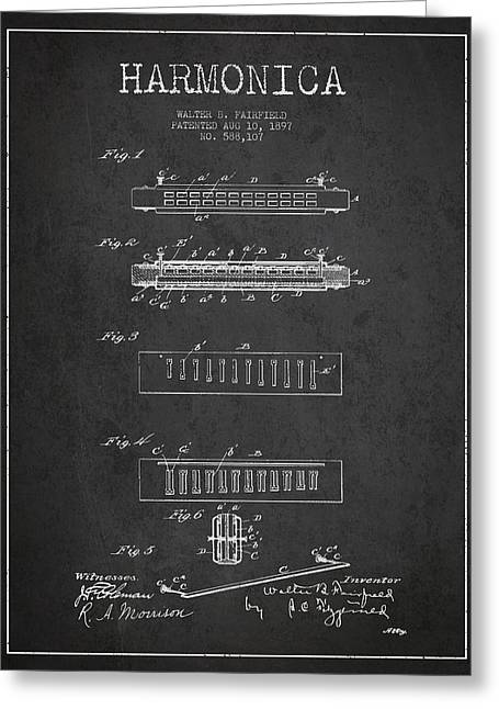 Wind Instrument Greeting Cards - Harmonica Patent Drawing from 1897 - Dark Greeting Card by Aged Pixel