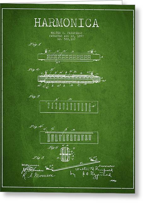 Wind Instrument Greeting Cards - Harmonica Patent Drawing from 1897 - Green Greeting Card by Aged Pixel