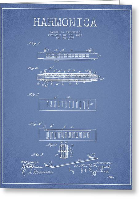 Harmonica Patent Drawing From 1897 - Light Blue Greeting Card by Aged Pixel