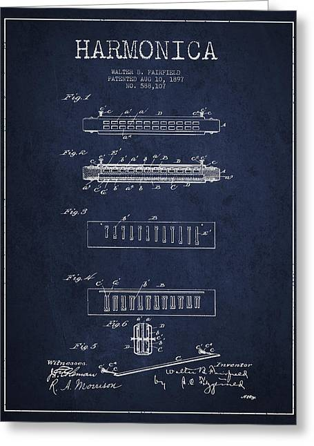 Harmonica Patent Drawing From 1897 - Navy Blue Greeting Card by Aged Pixel