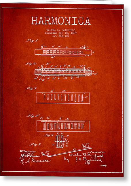 Harmonica Patent Drawing From 1897 - Red Greeting Card by Aged Pixel