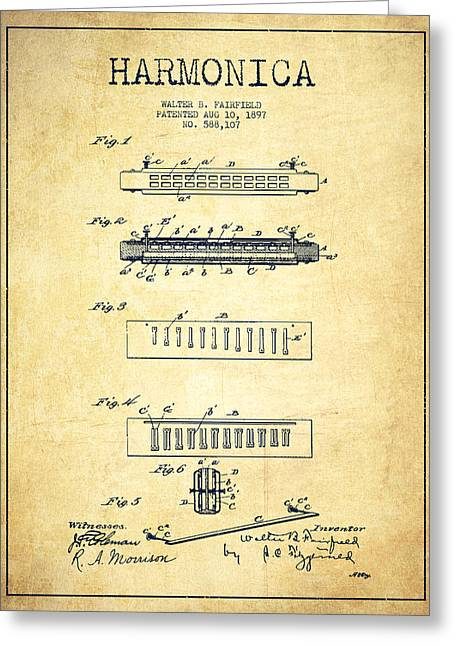Wind Instrument Greeting Cards - Harmonica Patent Drawing from 1897 - Vintage Greeting Card by Aged Pixel