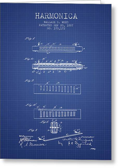 Wind Instrument Greeting Cards - Harmonica Patent from 1897 - Blueprint Greeting Card by Aged Pixel
