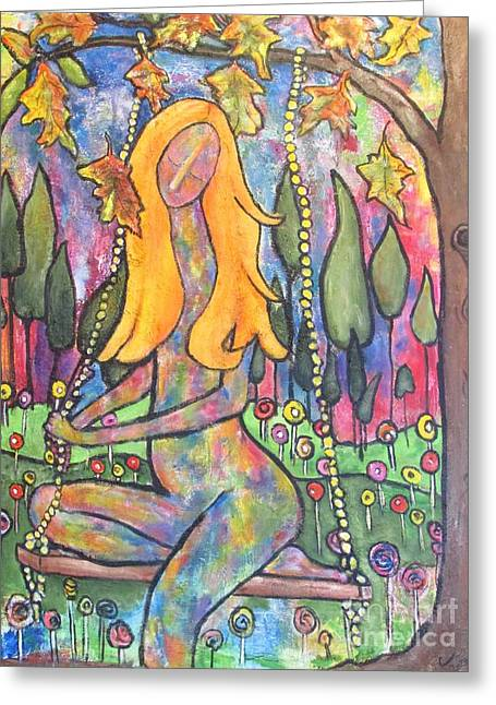 Child Swinging Paintings Greeting Cards - Harmony Greeting Card by Chaline Ouellet