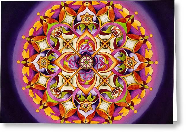 Crown Chakra Greeting Cards - Harmony - Crown Chakra Mandala Greeting Card by Vikki Reed