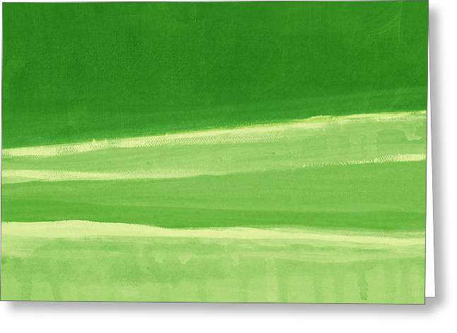 Abstract Nature Greeting Cards - Harmony In Green Greeting Card by Linda Woods