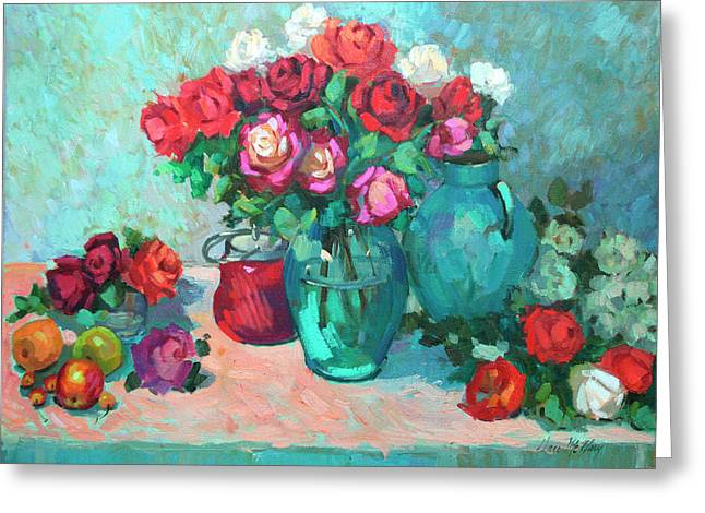 Lilac Greeting Cards - Harmony in Red Roses Greeting Card by Diane McClary