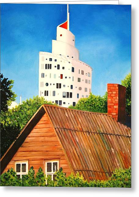 Old And New Paintings Greeting Cards - Harmony of old and new  Greeting Card by Misuk  Jenkins
