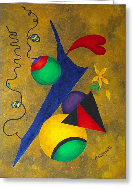 Surreal Geometric Mixed Media Greeting Cards - Harmony Greeting Card by Pamela Allegretto