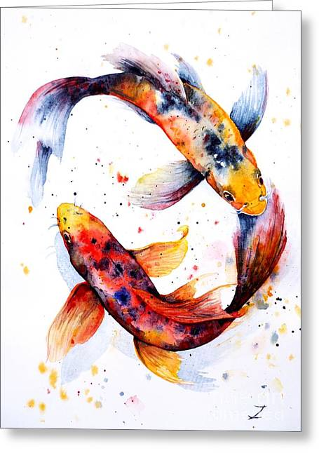 Koi Pond Greeting Cards - Harmony Greeting Card by Zaira Dzhaubaeva