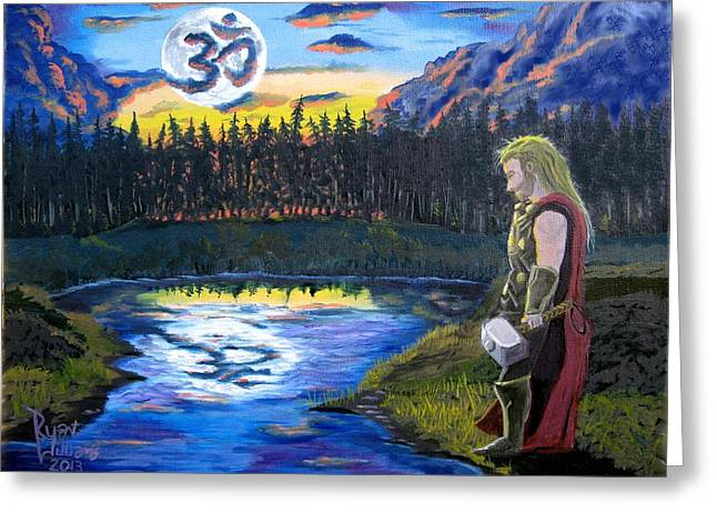Thor Paintings Greeting Cards - Harmonys Thunder Greeting Card by Ryan Williams