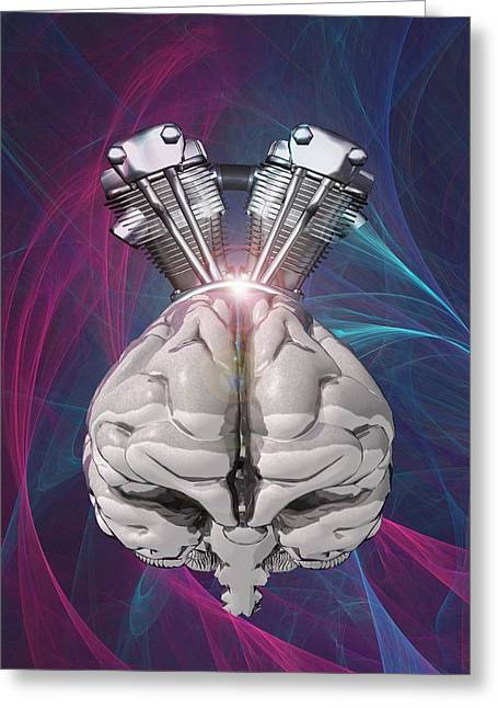 A.i. Greeting Cards - Harnessing brain power, artwork Greeting Card by Science Photo Library