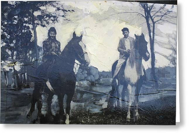 Quarter Horse Mixed Media Greeting Cards - Harold and Betty Sue  Greeting Card by Tanya Radic