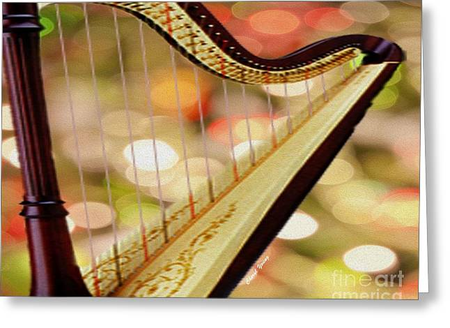 Harper Hall Greeting Cards - Harp Greeting Card by Cheryl Young