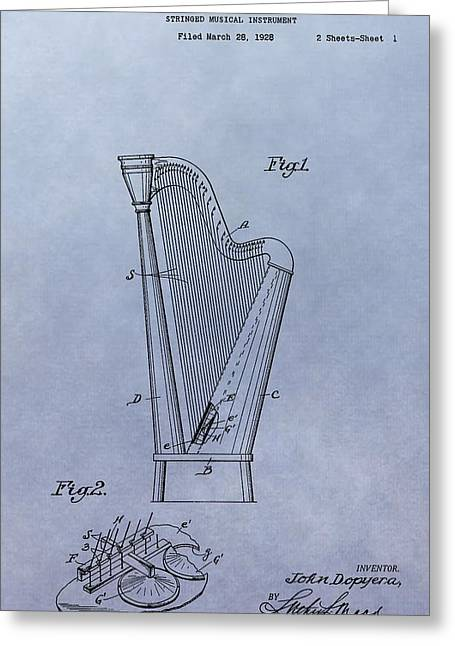 Resonator Greeting Cards - Harp Patent Greeting Card by Dan Sproul