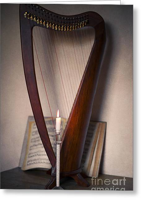 Playing Digital Art Greeting Cards - Harp Greeting Card by Svetlana Sewell