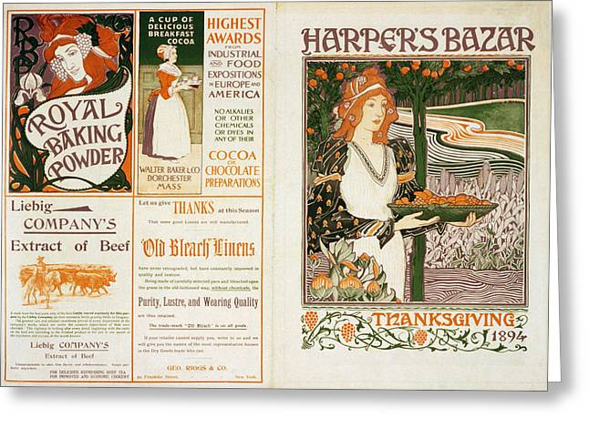 Thanks Giving Greeting Cards - Harpers Bazar Thanksgiving Greeting Card by Nomad Art And  Design