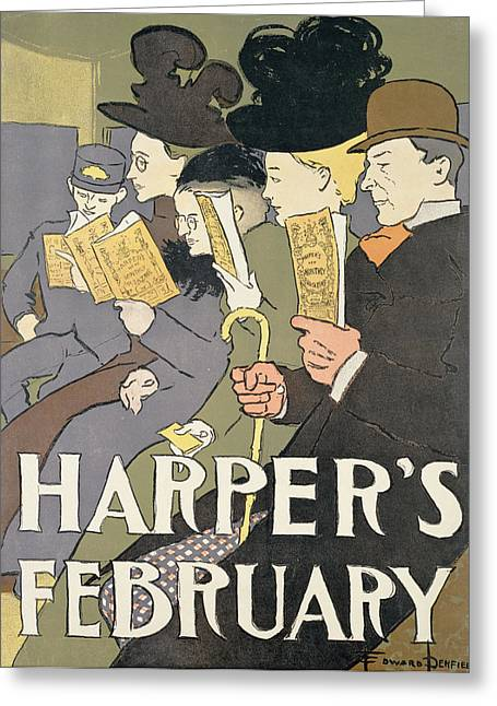Bowler Greeting Cards - Harpers February, 1897 Colour Litho Greeting Card by Edward Penfield