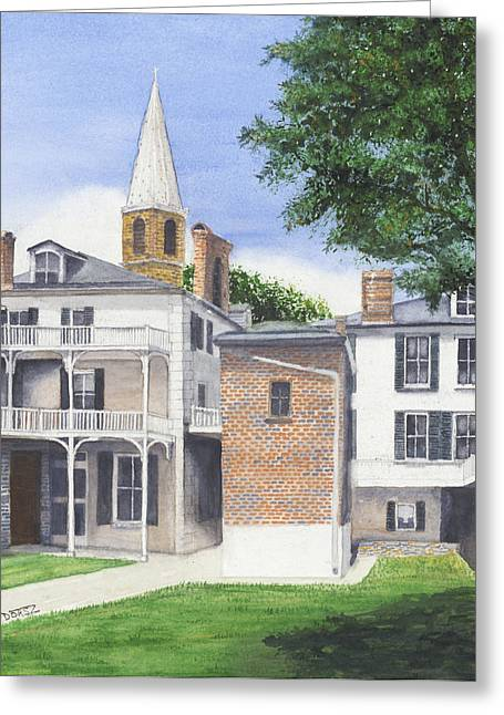 Harpers Ferry Paintings Greeting Cards - Harpers Ferry Courtyard Greeting Card by Tom Dorsz