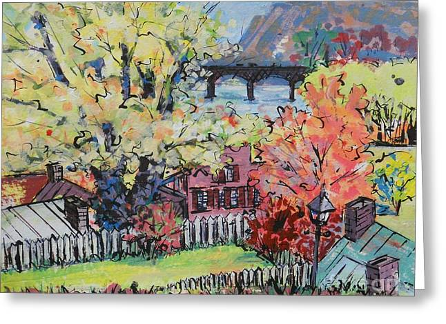 Harpers Ferry Mixed Media Greeting Cards - Harpers Ferry Crossing Greeting Card by Larry Lerew