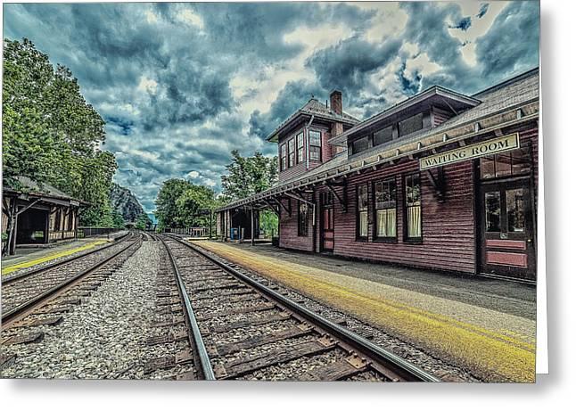 Wooden Platform Greeting Cards - Harpers Ferry. Railroad. Greeting Card by Oleg Koryagin