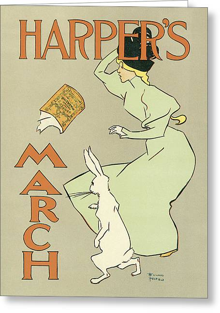 Woman In A Dress Photographs Greeting Cards - Harpers March 1894 Greeting Card by Edward Penfield