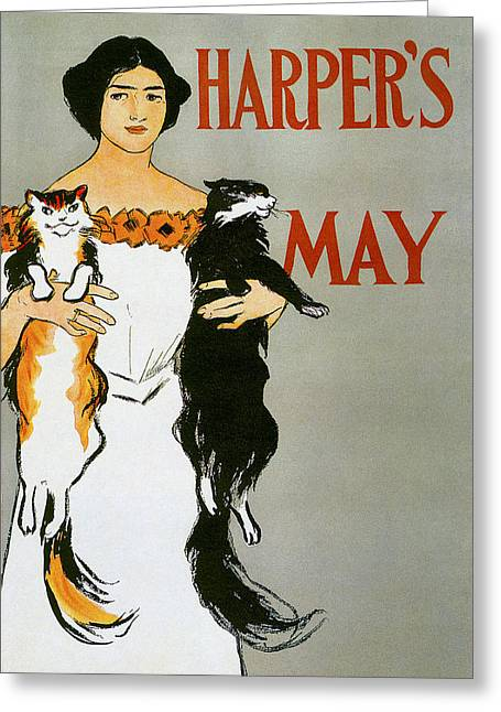 Woman In A Dress Photographs Greeting Cards - Harpers May Greeting Card by Edward Penfield