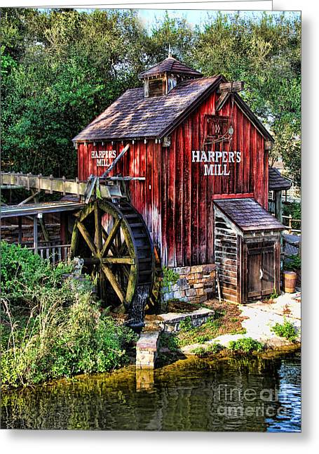 Red Fishing Shack Greeting Cards - Harpers Mill II Greeting Card by Lee Dos Santos