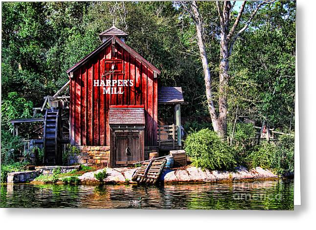 Red Fishing Shack Greeting Cards - Harpers Mill Greeting Card by Lee Dos Santos